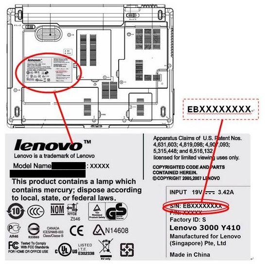 Серийный номер Lenovo